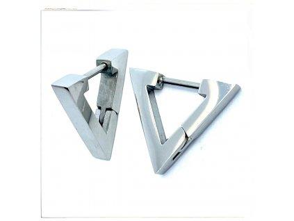 (O5333) Ocelové náušnice KROUŽKY, TROJÚHELNÍK bez kamínků
