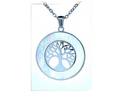 (O4066) Ocelový dámský set/náhrdelník STROM ŽIVOTA s  PERLETÍ