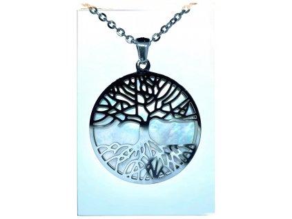 (O4069) Ocelový dámský set/náhrdelník STROM ŽIVOTA s PERLETÍ
