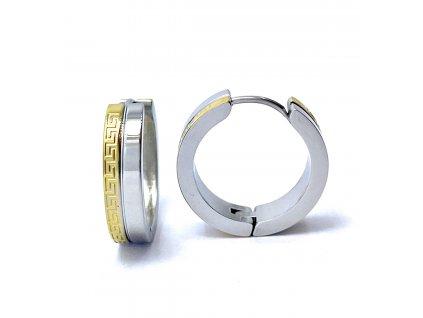 (O5228) Ocelové náušnice KRUHY s řeckým vzorem, kombinace GOLD/zlatá barva