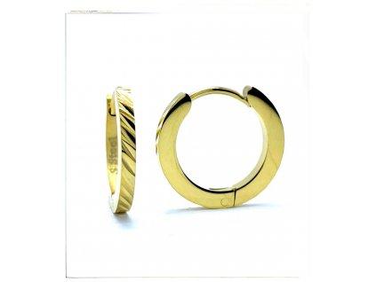 (O5352) Ocelové náušnice KROUŽKY Ø 17 MM, zdobené GOLD/zlatá barva