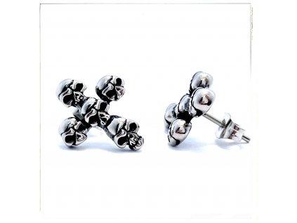 (O2142) Ocelové náušnice na puzetu, PECKY KŘÍŽ S LEBKOU (MOTO)