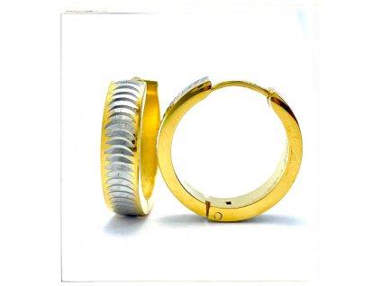 (O5358) Ocelové náušnice KRUHY gravírované GOLD/zlatá barva