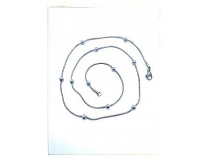 (O379) Ocelový dámský řetízek LANKO S KULIČKAMI 50/0,1 cm