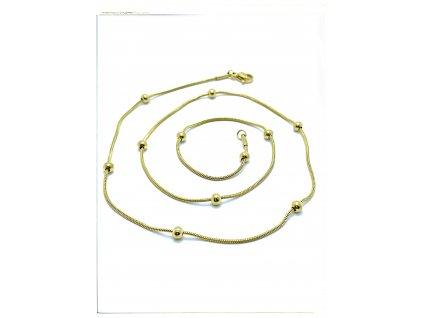 (O380) Ocelový dámský řetízek LANKO S KULIČKAMI 50/0,1 cm, GOLD/zlatá barva