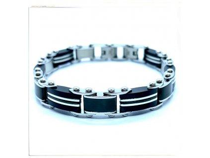 (O803) Ocelový pánský náramek DELUXE, BLACK/černá barva