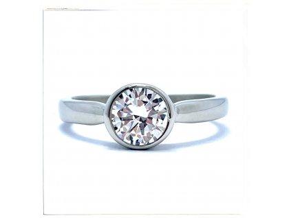 (O188) Ocelový dámský prsten s kamínkem