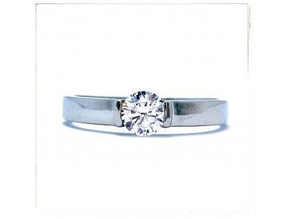 (O189) Ocelový dámský prsten s kamínkem