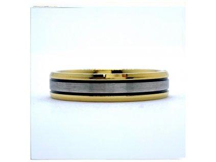 (O132) Ocelový prsten 5 mm, UNISEX, GOLD/zlatá barva