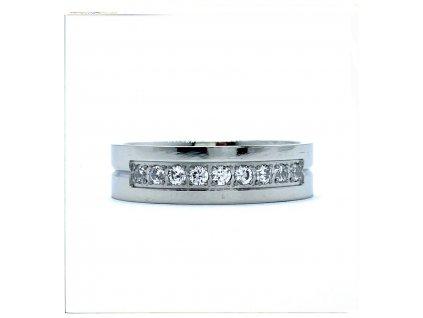 (O178) Ocelový dámský prsten s kamínky 6 mm