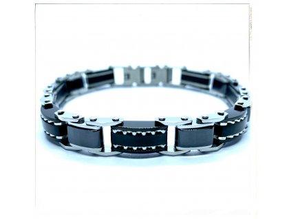 (O807) Ocelový pánský náramek DELUXE, kombinace s černou KERAMIKOU, BLACK/černá barva