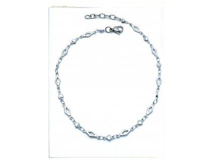 (O9024) Ocelový řetízek na nohu SRDCE S KOSOČTVERCEM