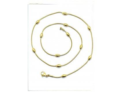 (O382) Ocelový dámský řetízek LANKO SE ZRNKEM 50/0,1 cm, GOLD/zlatá barva