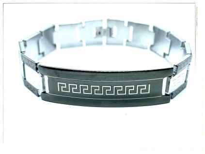 (O812) Ocelový pánský náramek PLOCHÝ s řeckým vzorem a ploškou, BLACK/černou barvou