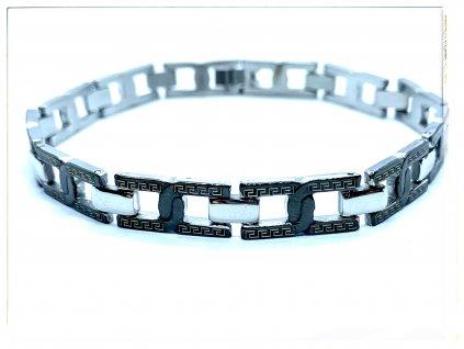 (O814) Ocelový pánský náramek PLOCHÝ s řeckým vzorem, BLACK/černou barvou