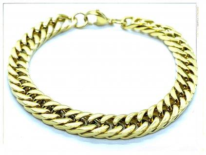 (O846) Ocelový pánský náramek, ROMBO propletený 8 mm, GOLD/zlatá barva
