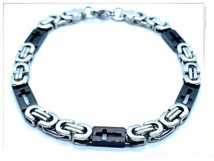 (O863) Ocelový pánský náramek, plochá VAZBA s křížkem na plošce 6 mm, BLACK/černá barva