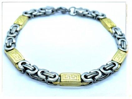 (O865) Ocelový pánský náramek, plochá VAZBA s řeckým vzorem 6 mm, GOLD/zlatá barva
