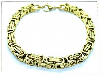 (O872) Ocelový pánský náramek, KRÁLOVSKÁ VAZBA 6 mm, GOLD/zlatá barva