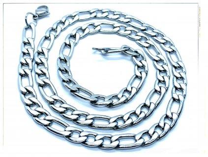 (O322) Ocelový pánský řetízek, FIGARO 7 mm