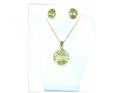 (O503) Ocelový dámský set STROM ŽIVOTA barva GOLD/zlatá