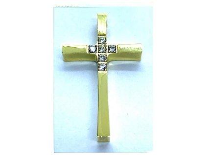 (O423) Ocelový kříž s kamínky 2,5 cm, bez očka, GOLD/zlatá barva