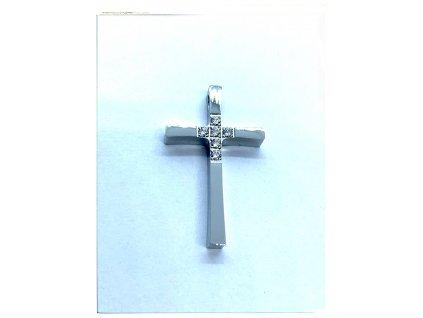 (O424) Ocelový kříž s kamínky 2,5 cm, bez očka