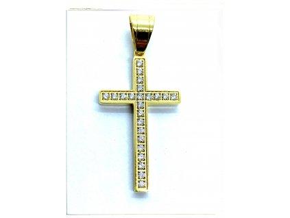 (O430) Ocelový kříž s kamínky 3 cm, GOLD/zlatá barva