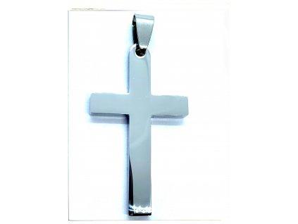 (O436) Ocelový kříž, lesklý 3,7 cm