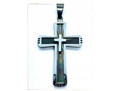 (O438) Ocelový kříž 4,2 cm, BLACK/černá barva