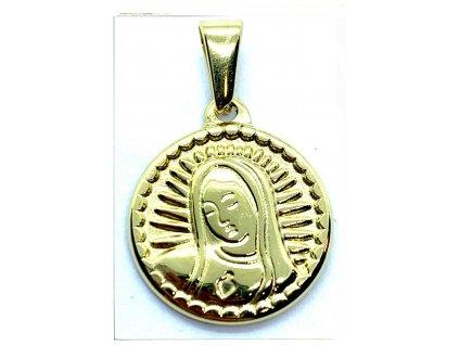 (O475) Ocelová MADONKA, kulatá 1,8 cm, GOLD/zlatá barva