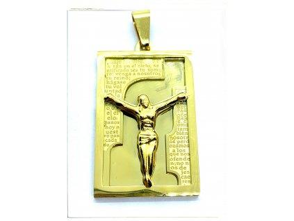 (O448) Ocelová ploška s JEŽÍŠEM, GOLD/zlatá barva