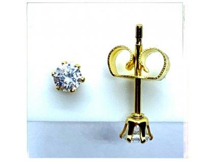 (O2117) Ocelové náušnice na puzetu, PECKY kulaté 3mm, GOLD/zlatá barva