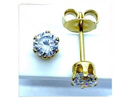 (O2118) Ocelové náušnice na puzetu, PECKY kulaté 4 mm, GOLD/zlatá barva