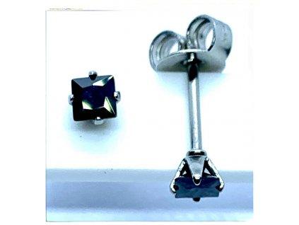 (O2120) Ocelové náušnice na puzetu, PECKY hranatý kamínek 3 mm, BLACK/černá barva kamínku