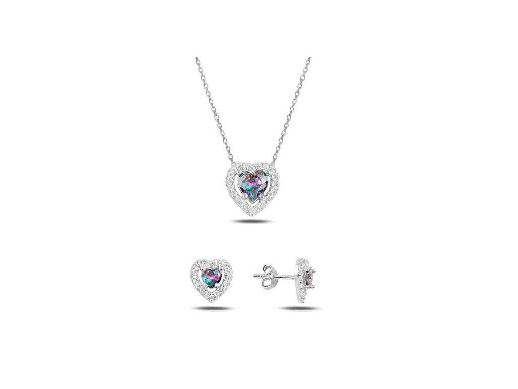 strieborny pozlateny srdieckovy set s krystalom 94739RH