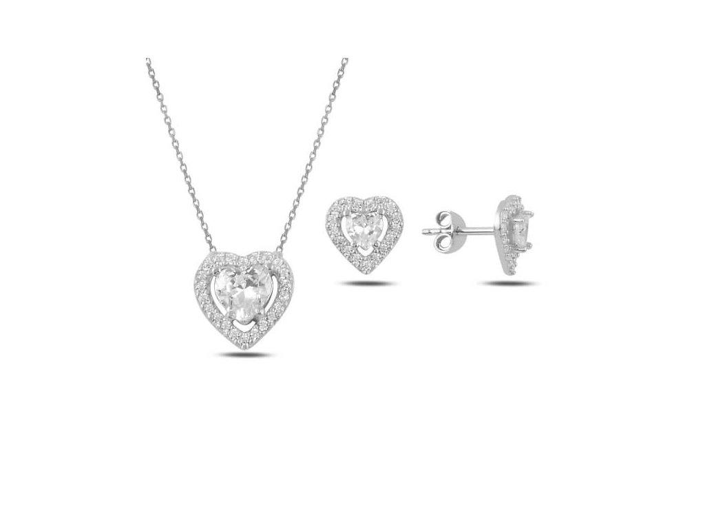 strieborna suprava srdce pozlatena ruzovym zlatom 66929RH