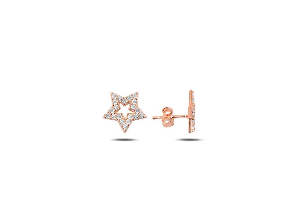 strieborne nausnice hviezdy pozlatene biele zirkony NA22088RZ