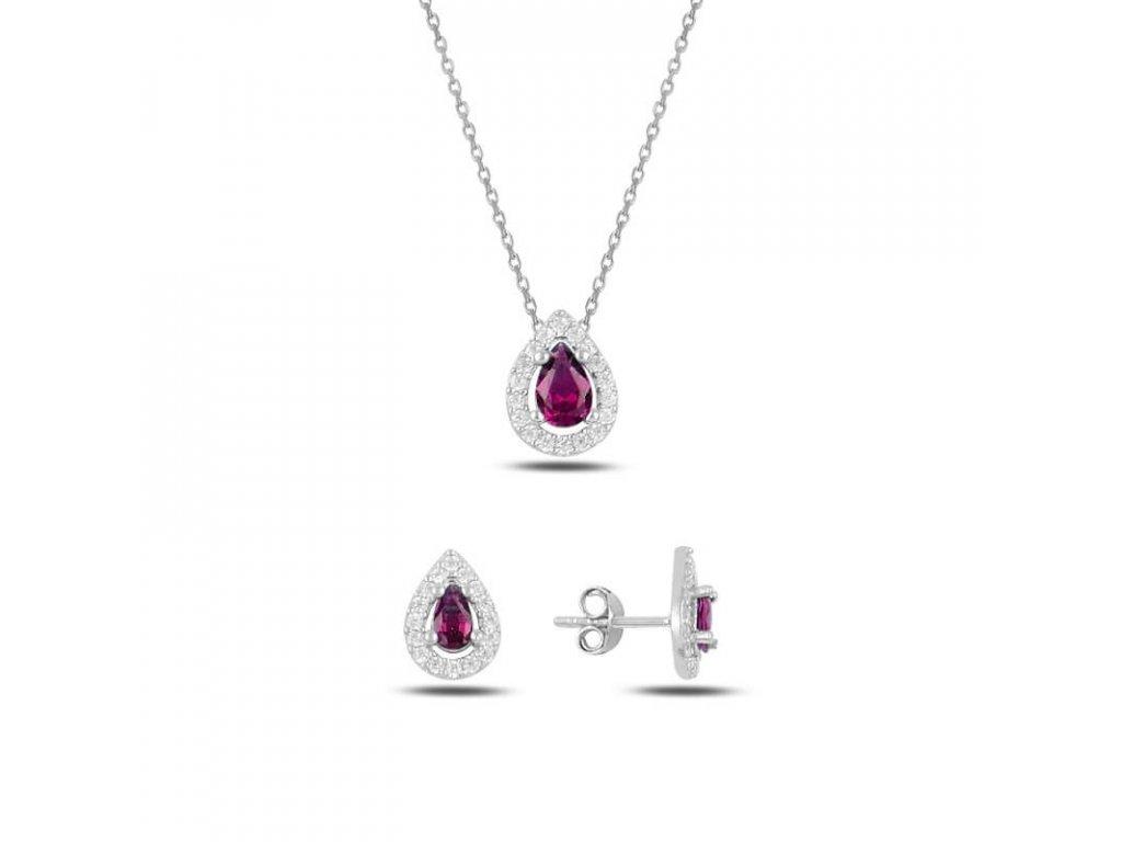 strieborna suprava damska ruzova rubinova RUBY SET64739RU