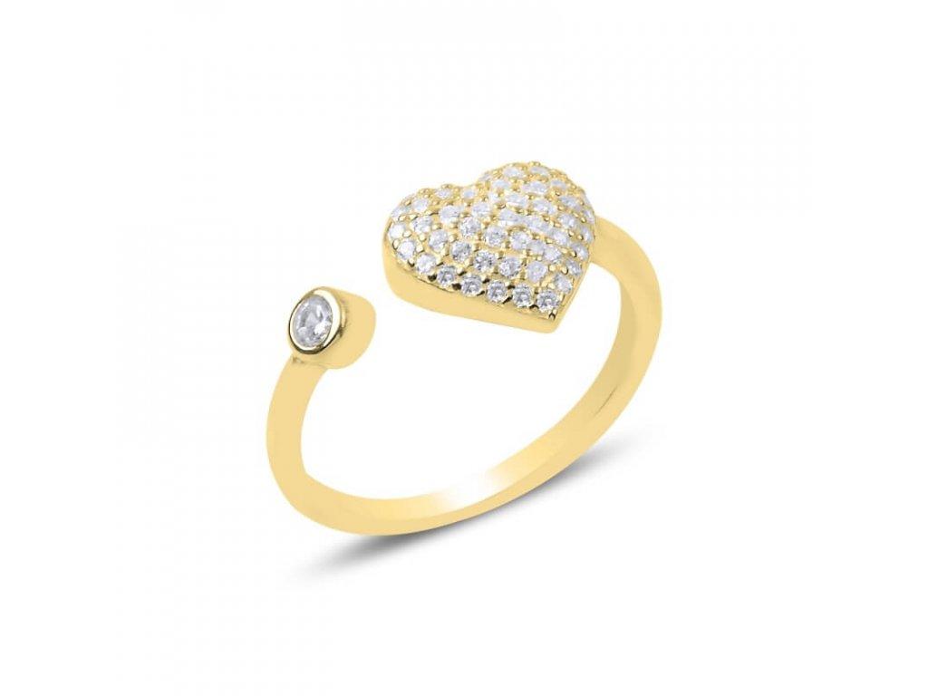 strieborny prsten damsky srdce LOVE nastavitelny pozlateny zltym zlatom PR25598ZZ