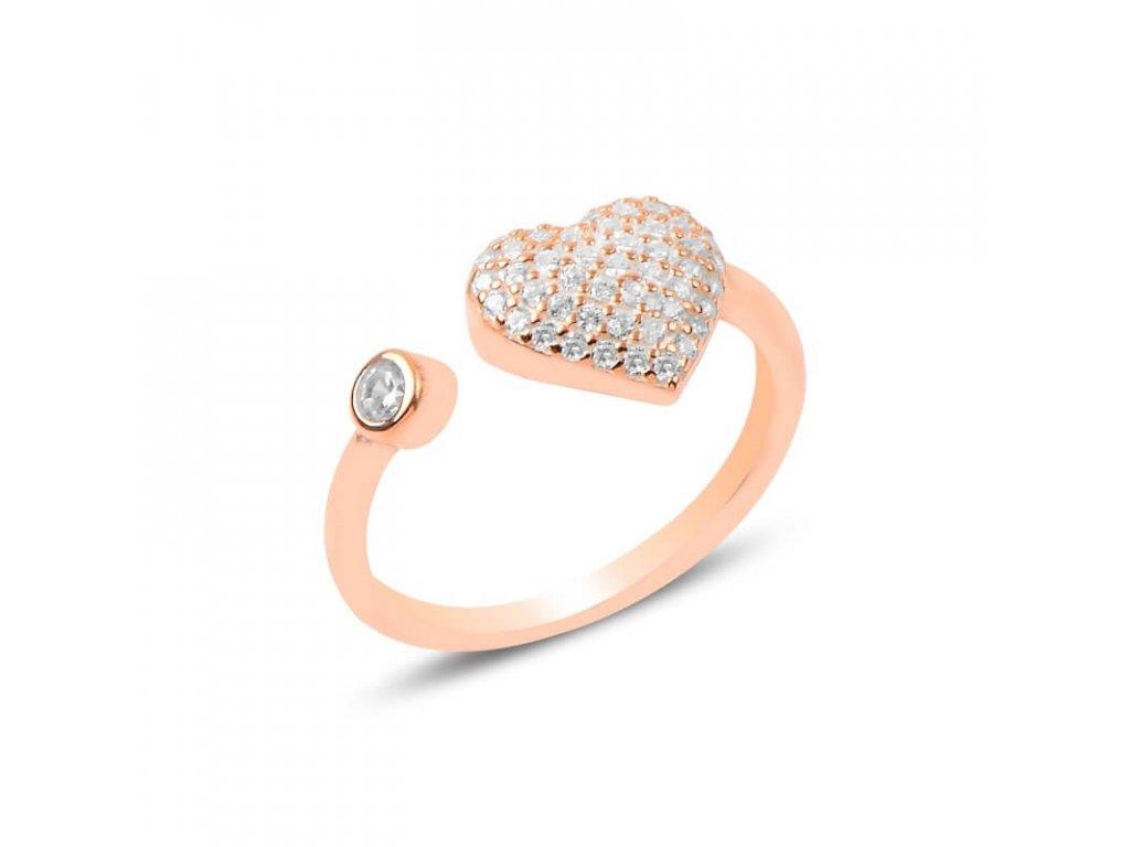 strieborny prsten damsky srdce HEART nastavitelny pozlateny ruzovym zlatom PR25598RZ