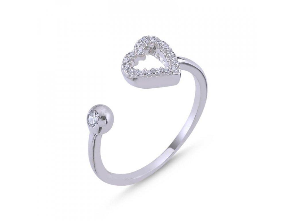 strieborny prsten damsky srdce LOVE nastavitelny PR35268RH