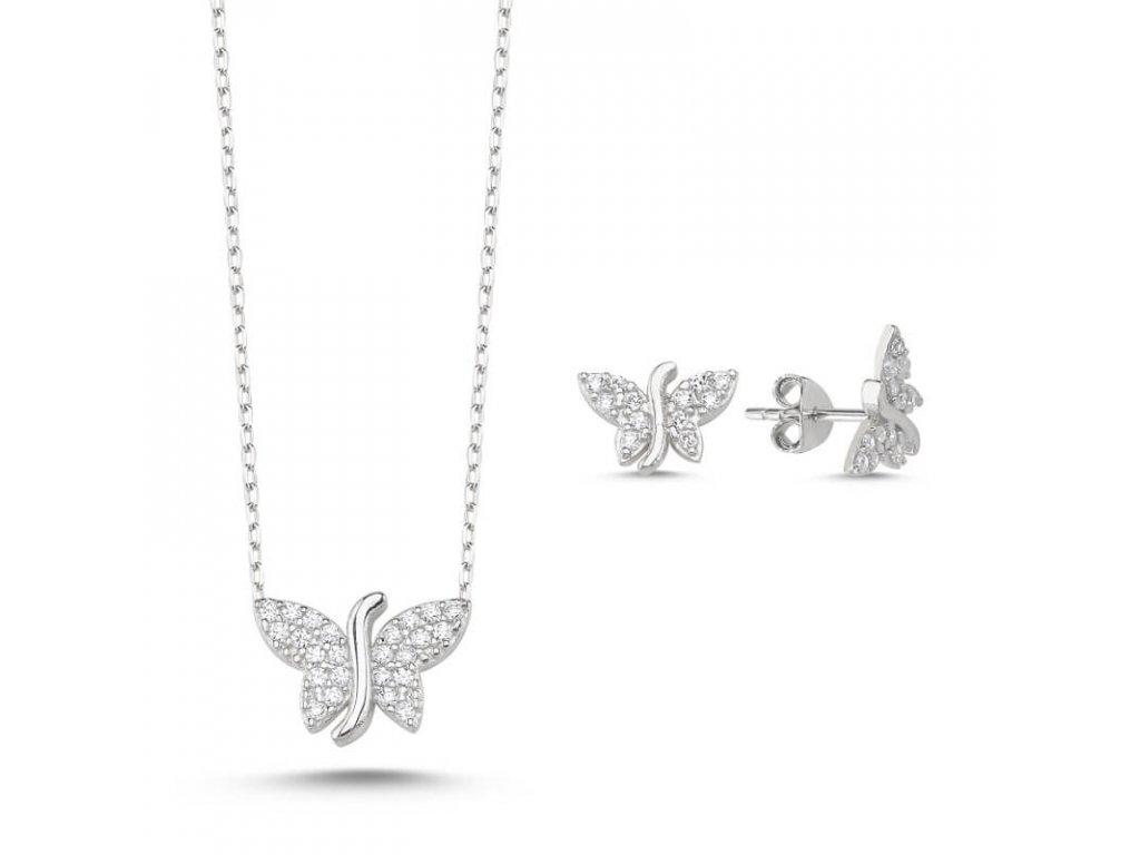 strieborny set motylik BUTTERFLY crystal biely nausnice nahrdelnik SET17441RH