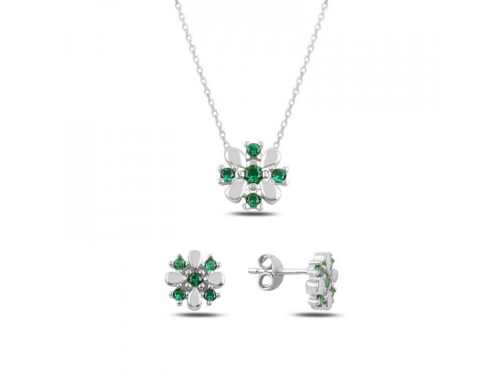 strieborna kvetinova suprava nausnice nahrdelnik zelena emerald SET45629EM