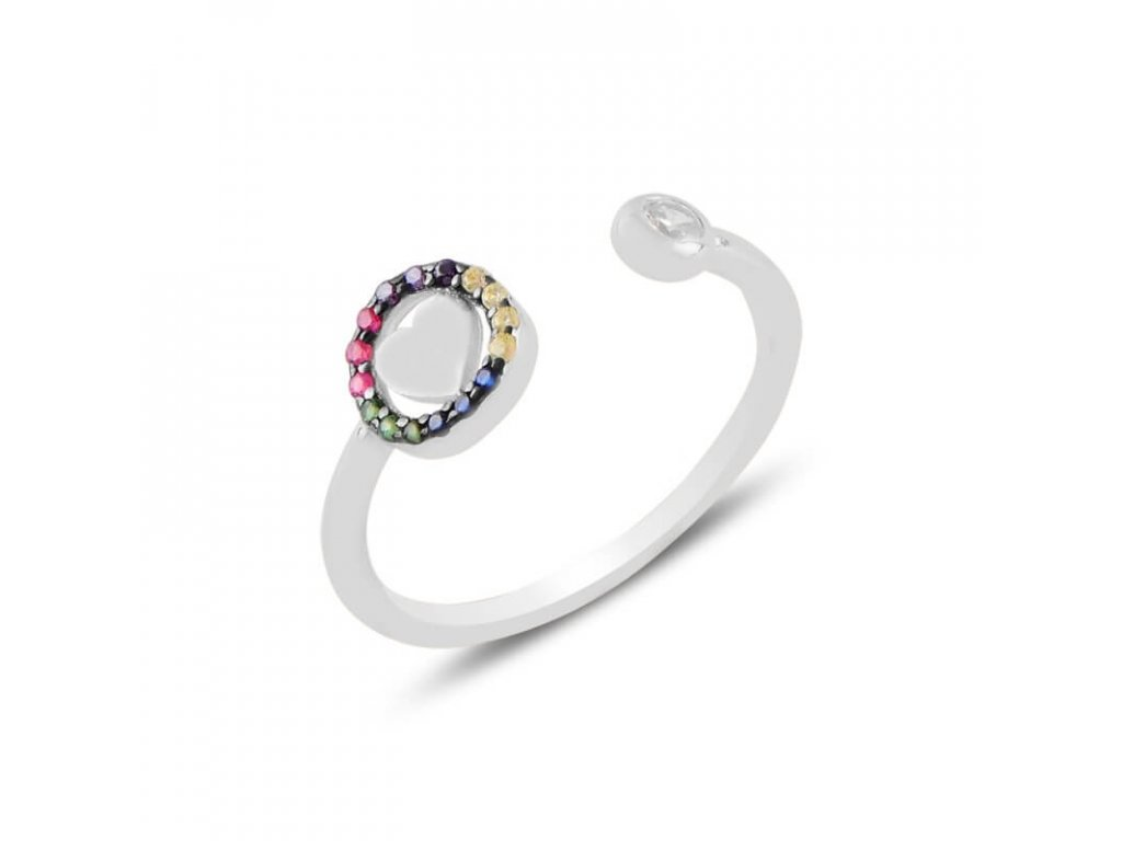 strieborny prsten damsky srdce LOVE COLOR nastavitelny PR55299RH
