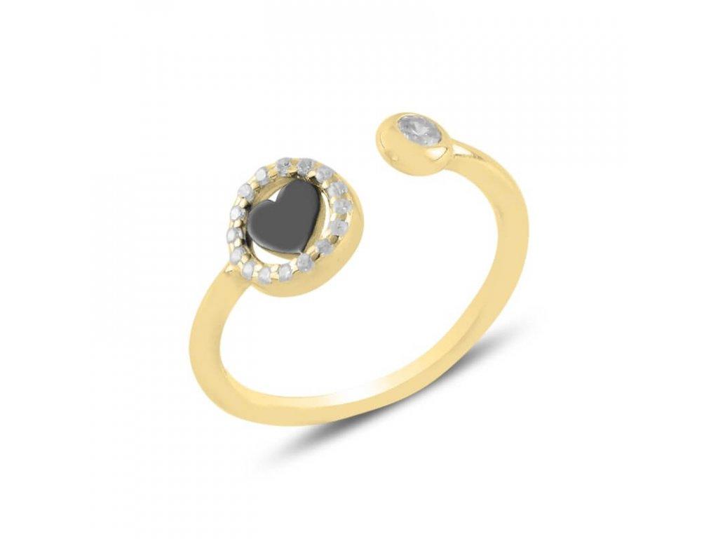 strieborny prsten damsky so srdieckom nastavitelna velkosť pozlateny PR45299ZZ