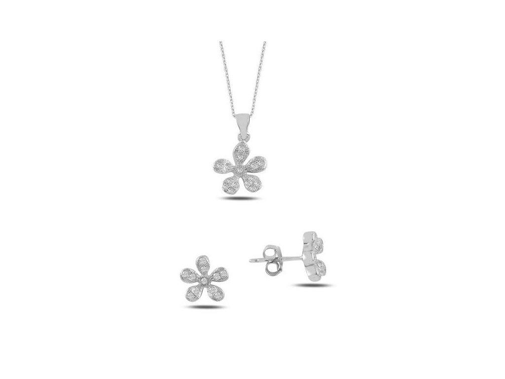 strieborny kvietkovy set nausnice privesok biely flower crystal SET325001RH