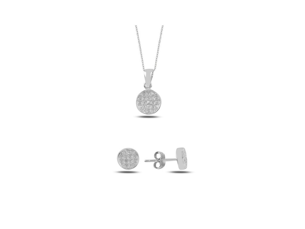 strieborny set okruhly nausnice nahrdelnik biely COLLO crystal SET215001RH