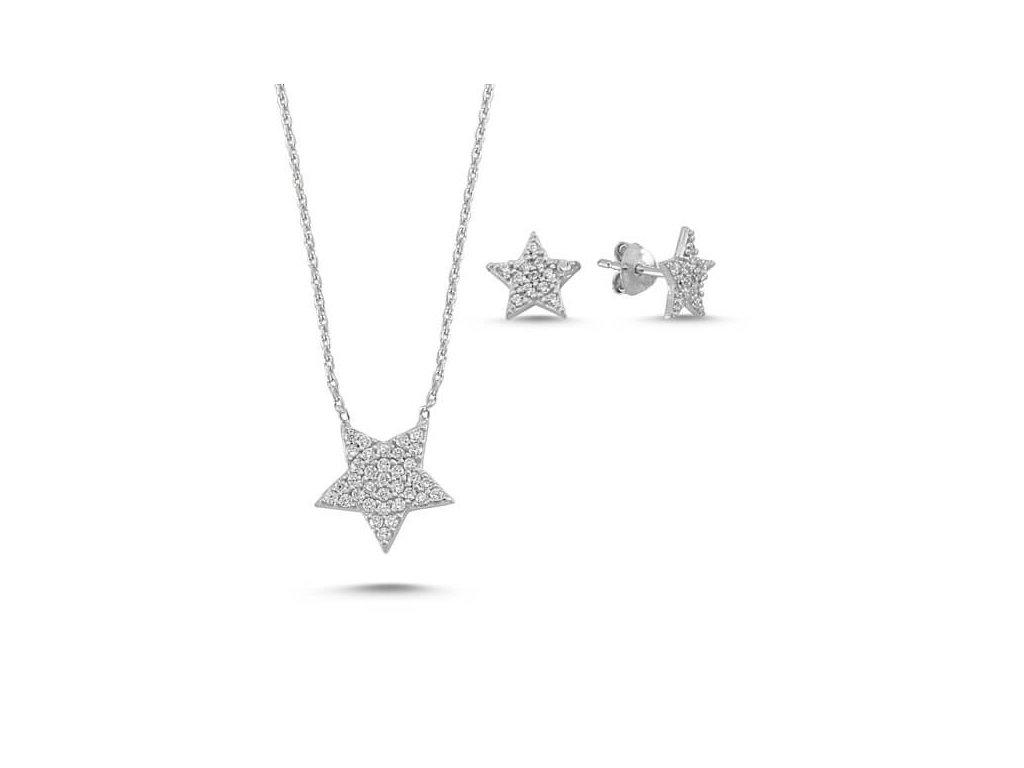 strieborny set hviezdicky star nausnice nahrdelnik SET88148RH
