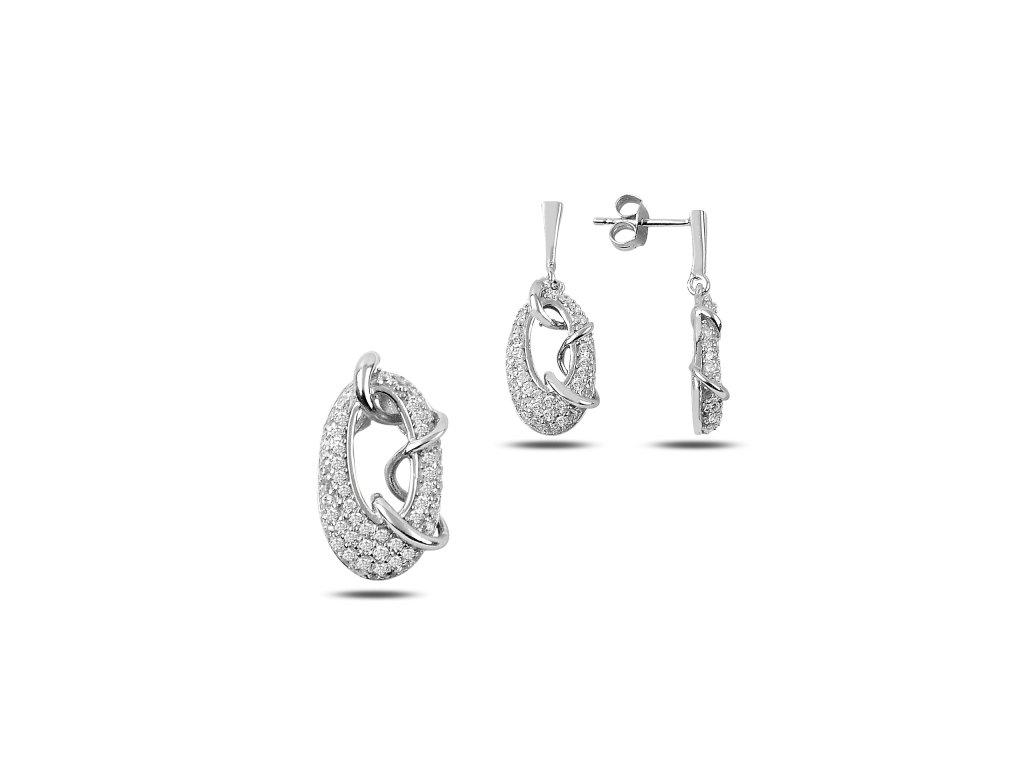 strieborny set oval crystal rhodium SET77188RH